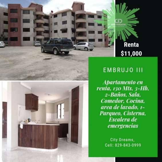Embrujo iii, apartamento en renta,130mts, santiago r.d.