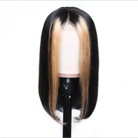 Pelucas cabello humano 100% natural negro con mechas rubia